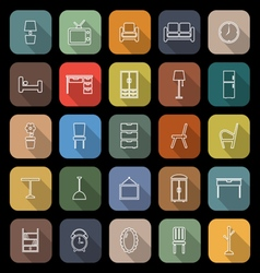 Furniture line flat icons with long shadow vector image