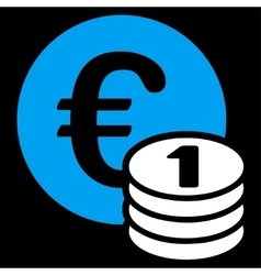 One euro coin stack icon from bicolor euro banking vector