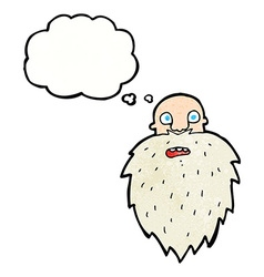 Cartoon bearded man with thought bubble vector
