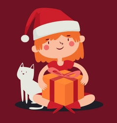 Christmas girl holding a present next to her cat vector