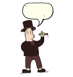 Cartoon smoking gentleman with speech bubble vector