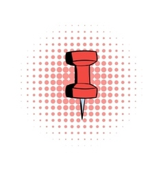 Red push pin comics icon vector