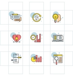 Modern thin line icons set for business vector