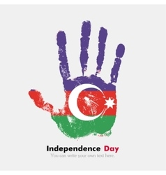 Handprint with the azerbaijani flag in grunge vector
