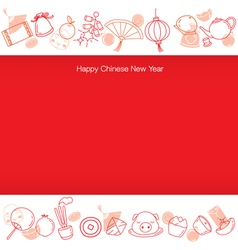 Chinese new year icons set frame vector