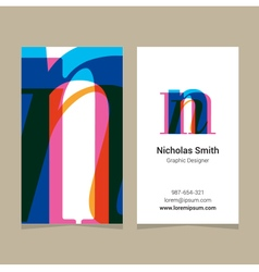 Business card letter n vector