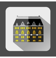 Grey building with arched windows icon flat style vector