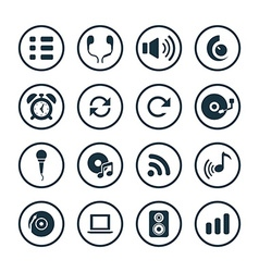 audio icons universal set vector image vector image