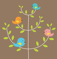 Birds Family On A Tree vector image