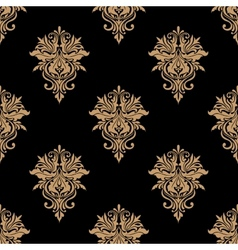 Black and beige floral seamless pattern vector
