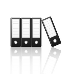 Black binders vertical isolated on white vector