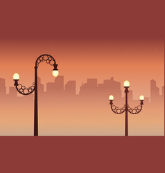 City with street lamp landscape vector