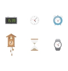 Clock and time icon set vector image vector image