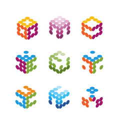 collection of logos consists of small dots vector image vector image
