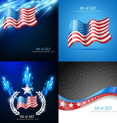 Creative set of american flag backgrounds vector