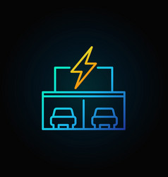 Electric car showroom concept icon in thin line vector