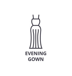 evening gown line icon outline sign linear vector image