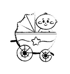 Figure security stroller with baby child inside vector