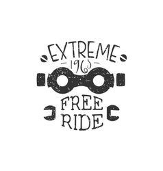 Freeride vintage label with glasses vector
