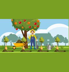 gardener plant icons set cartoon style vector image