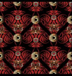 Greek key meander paisley seamless pattern vector
