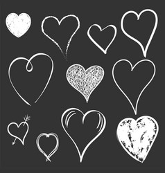 Hearts icon set love hand drawn on black vector