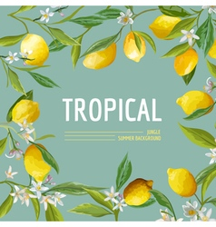 Lemon flowers and leaves exotic graphic vector