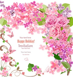 lovely invitation card with flowers and butterfly vector image vector image