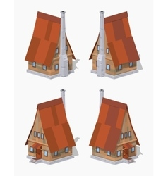 Low poly a-frame wooden house vector
