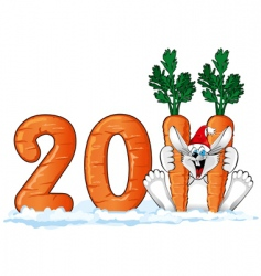 New Year's rabbit vector image vector image