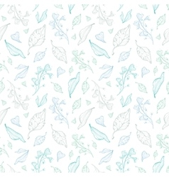 Pastel line art leaves seamless pattern vector