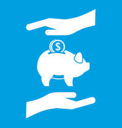 Piggy bank and hands icon white vector