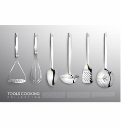 Realistic kitchen silver cooking tools set vector