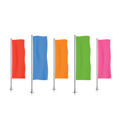 Row of colorful vertical banner flags vector