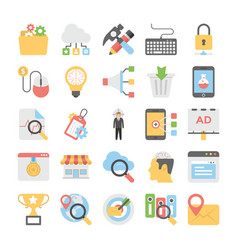 seo and digital marketing colored icons 8 vector image vector image