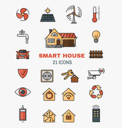 Set line art icons of the smart home vector