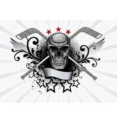 Skull mascot hockey vector