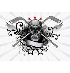 Skull Mascot Hockey vector image