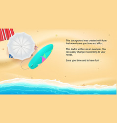 Summer sand of beach on the seashore umbrella vector