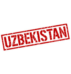 Uzbekistan red square stamp vector