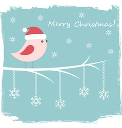 Winter card with cute bird and snowflakes vector image