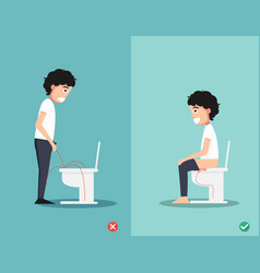 right way to pee vector image