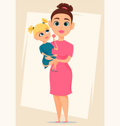 Happy mothers day greeting card mother holding vector