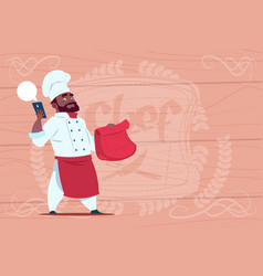 African american chef cook holding packet with vector