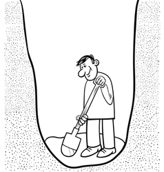 Digging man cartoon coloring page vector
