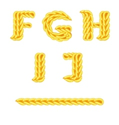 Knitted alphabet f j vector