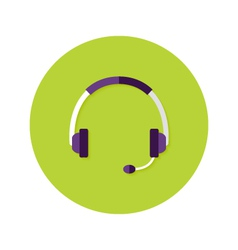 Headset callback flat circle icon vector