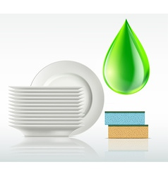 plates and a drop of detergent isolated on white vector image