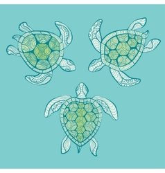 Decorative turtles in water vector