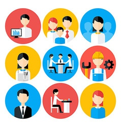Flat stylized business people icons set vector
